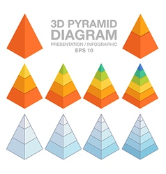 3d layered pyramid charts vector image
