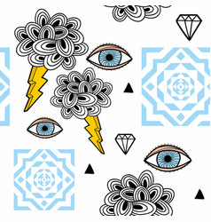 abstract seamless pattern with eyes in the sky vector image
