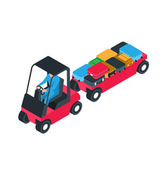 Airport luggage car vector