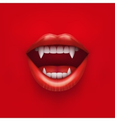 Background of vampire mouth with open lips vector