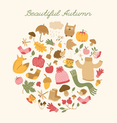beautiful autumn round composition vector image