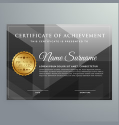 Black award certificate design template vector