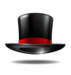 Black cylinder hat with red ribbon vector