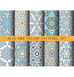 Blue Yellow Kaleidoscopic Patterns Set vector image
