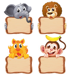 Board template with cute animals on white vector