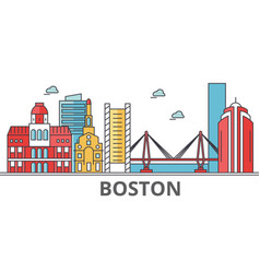 Boston city skyline buildings streets vector