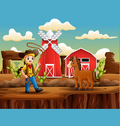 cartoon cowboy with a horse and lasso vector image