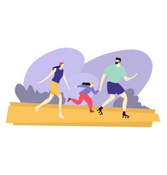 Cheerful family run roller skate happy character vector