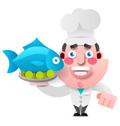 chef with fish on a tray on white background for vector image