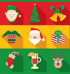 Christmas symbols set in flat style vector
