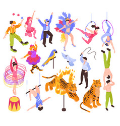 Circus performers isometric set vector