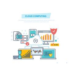 cloud computing network cloud service computer vector image