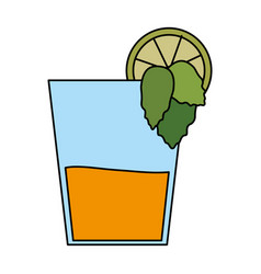Color image cartoon glass cup of cocktail with vector
