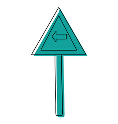 Color triangle metal notice with turn left sign vector