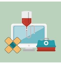Computer with medicine icon vector