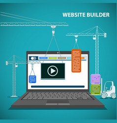 Construction machinery is building a website on a vector