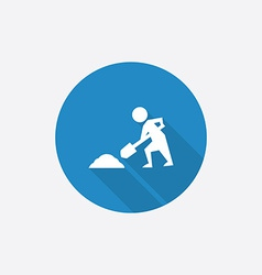 Construction works Flat Blue Simple Icon with long vector