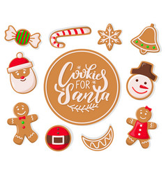 cookie for santa claus candy lollipop stripes vector image