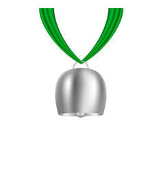 Cowbell hanging on green piece of cloth vector