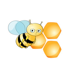 cute bee character and beehive on white background vector image
