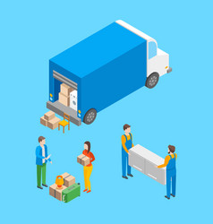delivery moving elements concept 3d isometric view vector image