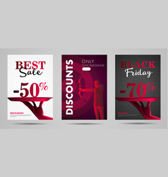 discounts posters with stylized hand offeres vector image