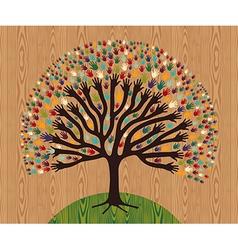 Diversity Tree hands over wooden pattern vector