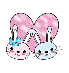 Doodle cute rabbits couple head with heart vector