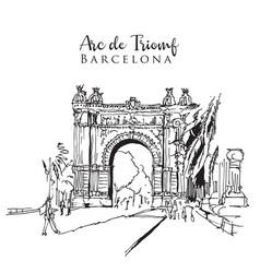 drawing sketch arc de triomf vector image