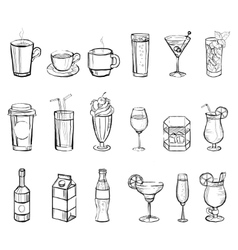 Drinks doodle set handdrawn vector