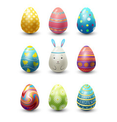 Easter eggs painted with spring pattern vector