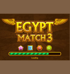 egyptian match3 on background and jewels icons vector image
