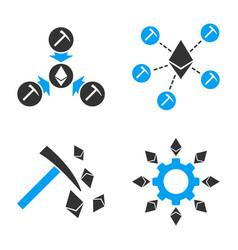 ethereum mining icon set vector image