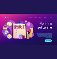 event management concept landing page vector image
