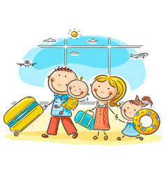 family in the airport vector image