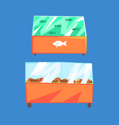 fish products refrigerators seafood in vector image
