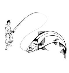 Fisherman caught fish design vector