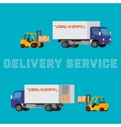 Flat concept of delivery truck with vector image