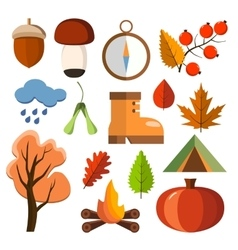 Flat forest icon set autumn forest icons vector