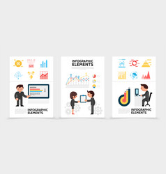 flat infographic elements posters vector image