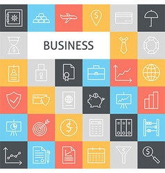 Flat Line Art Modern Business Icons Set vector image