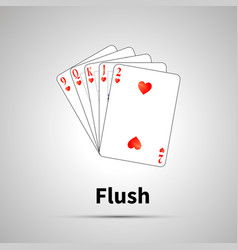 flush poker combination with shadow vector image