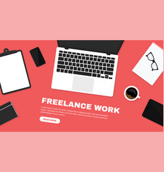 freelancer workspace workspace in top view vector image