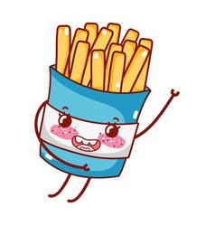 French fries fast food cute kawaii cartoon vector