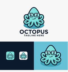 Fun little cute smiling happy octopus in glasses vector