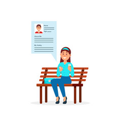 Girl sitting on the park bench communicating with vector
