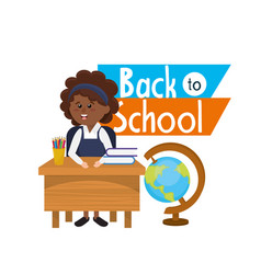 girl student in the desk with books and pencils vector image