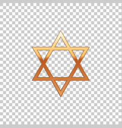 golden star of david on transparent background vector image