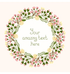 Greeting card design with a floral wreath vector