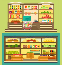 Grocery store supermarket shelves vector